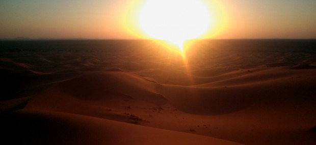 Sunset in Merzouga desert with Tailormade Morocco Tours